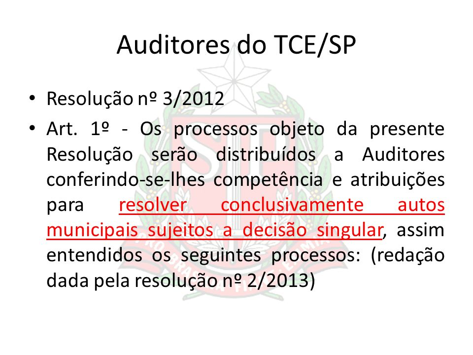 Auditores do TCE/SP Resolução nº 3/2012
