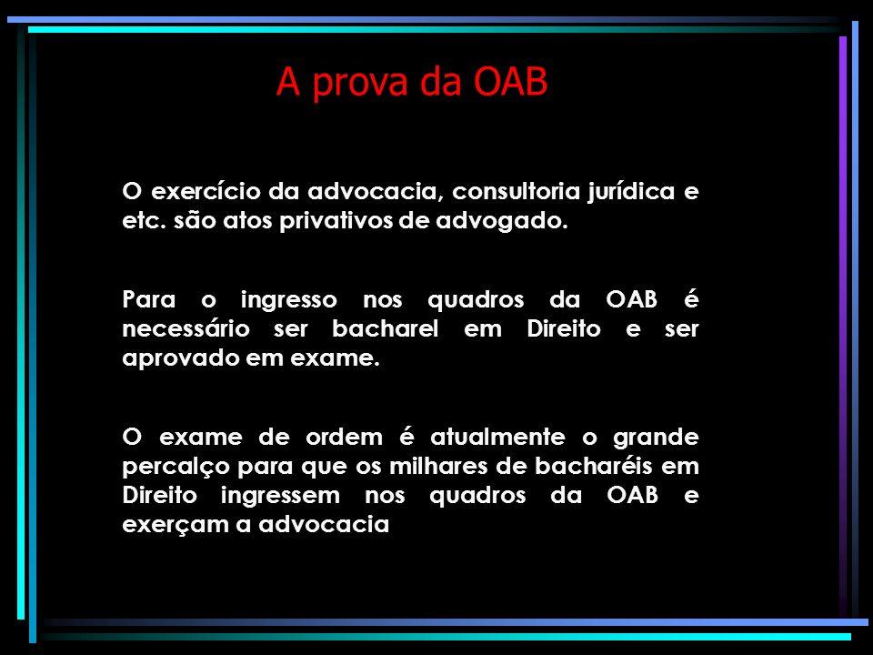 A prova da OAB O exercício da advocacia, consultoria jurídica e etc. são atos privativos de advogado.