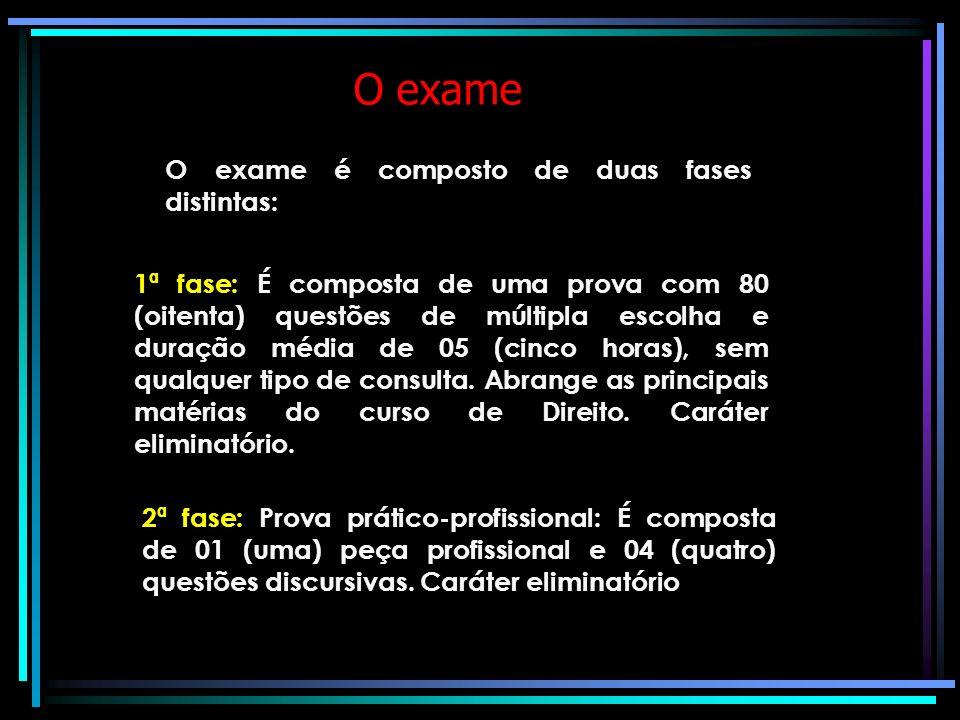 O exame O exame é composto de duas fases distintas:
