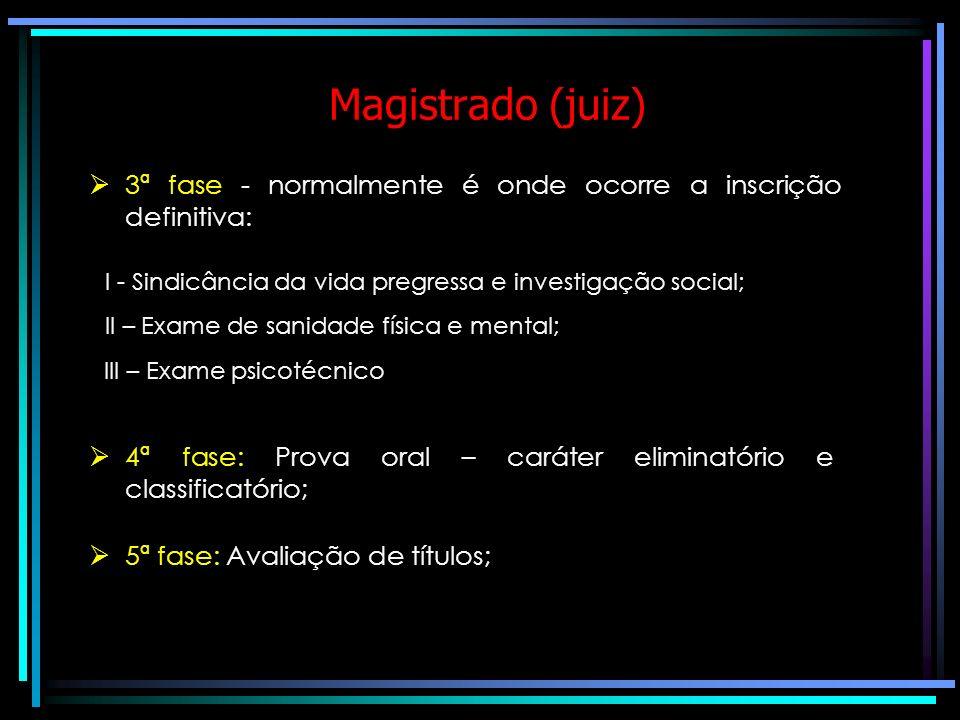 Magistrado (juiz) 3ª fase - normalmente é onde ocorre a inscrição definitiva: I - Sindicância da vida pregressa e investigação social;