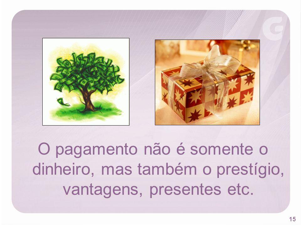 O pagamento não é somente o dinheiro, mas também o prestígio, vantagens, presentes etc.