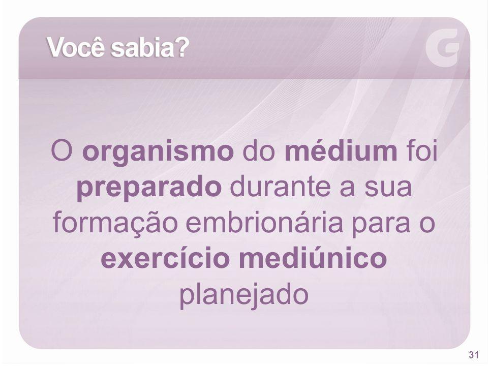 O organismo do médium foi preparado durante a sua formação embrionária para o exercício mediúnico planejado