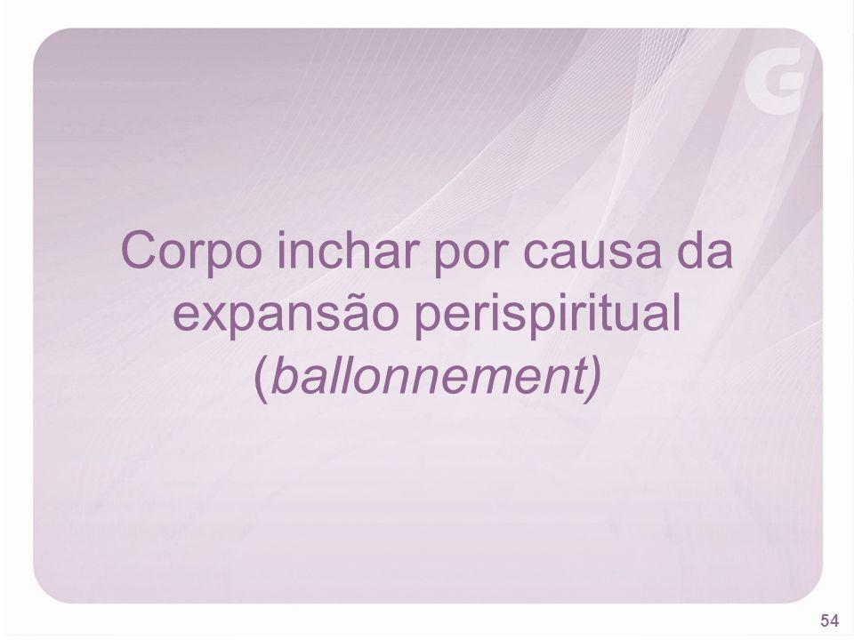 Corpo inchar por causa da expansão perispiritual (ballonnement)