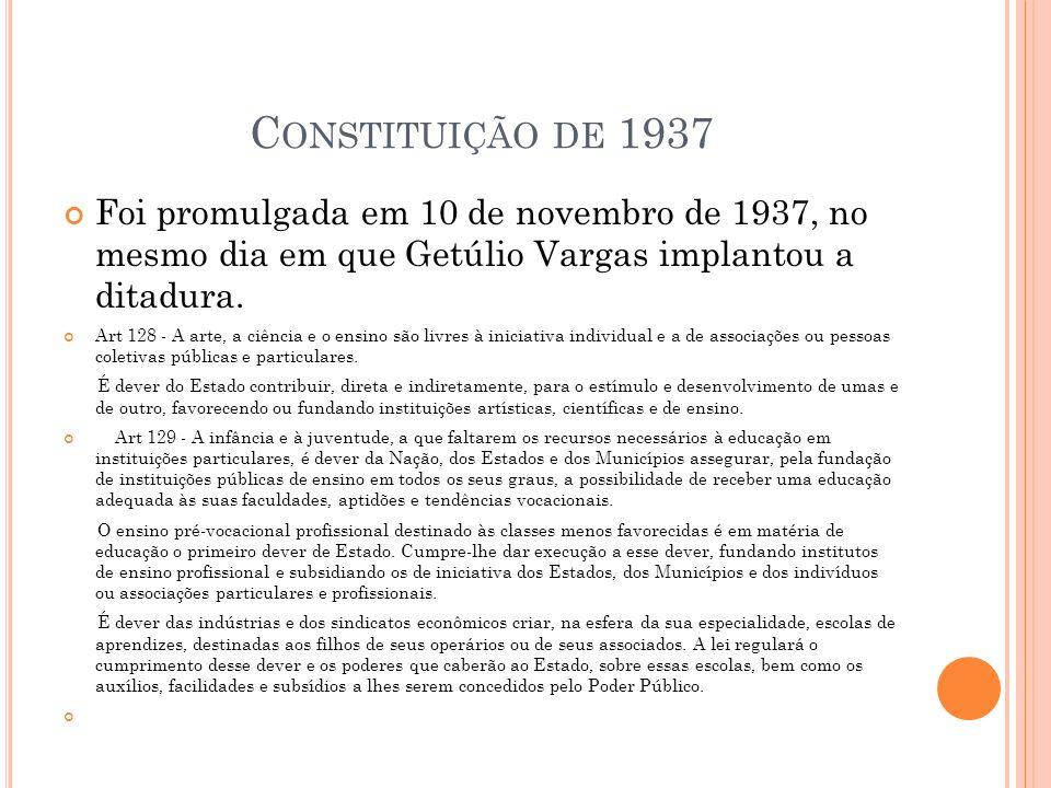 Constituição de 1937 Foi promulgada em 10 de novembro de 1937, no mesmo dia em que Getúlio Vargas implantou a ditadura.