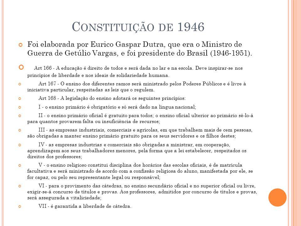 Constituição de 1946 Foi elaborada por Eurico Gaspar Dutra, que era o Ministro de Guerra de Getúlio Vargas, e foi presidente do Brasil (1946-1951).