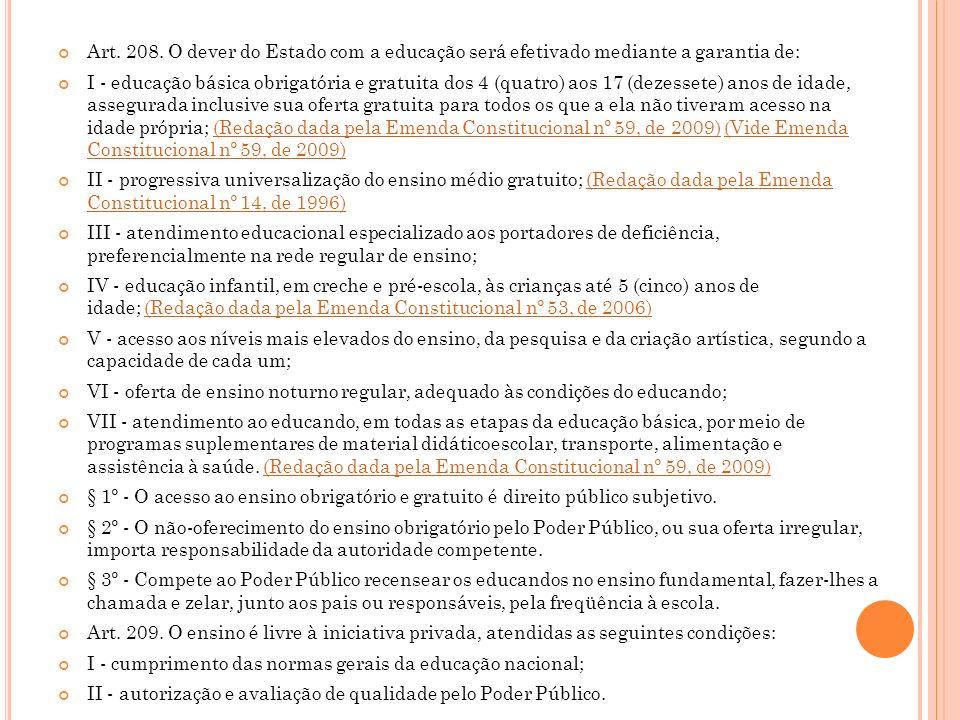 Art. 208. O dever do Estado com a educação será efetivado mediante a garantia de: