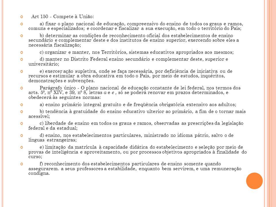Art 150 - Compete à União:
