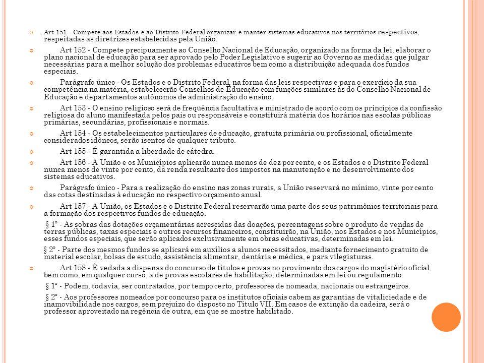 Art 155 - É garantida a liberdade de cátedra.