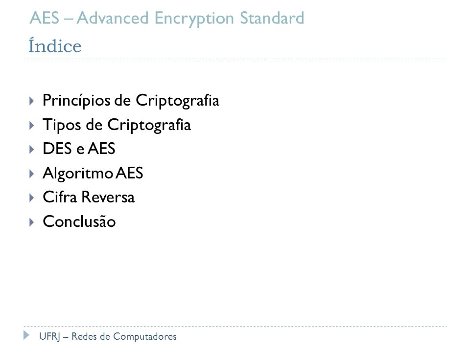 AES – Advanced Encryption Standard Índice
