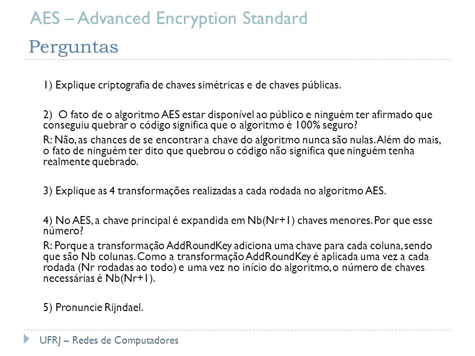 AES – Advanced Encryption Standard Perguntas