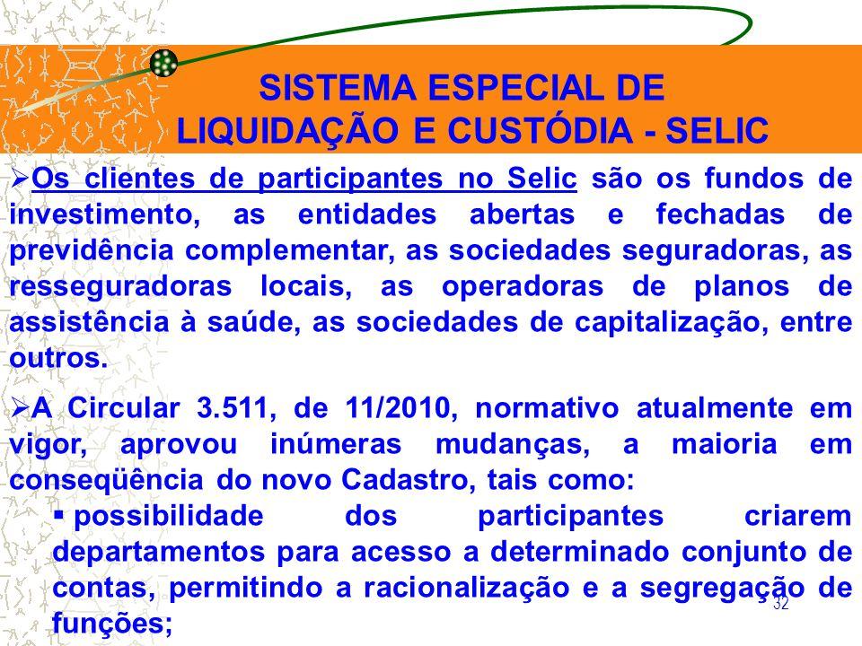 LIQUIDAÇÃO E CUSTÓDIA - SELIC