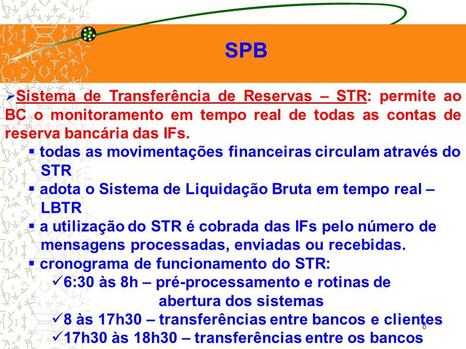 SPB todas as movimentações financeiras circulam através do STR