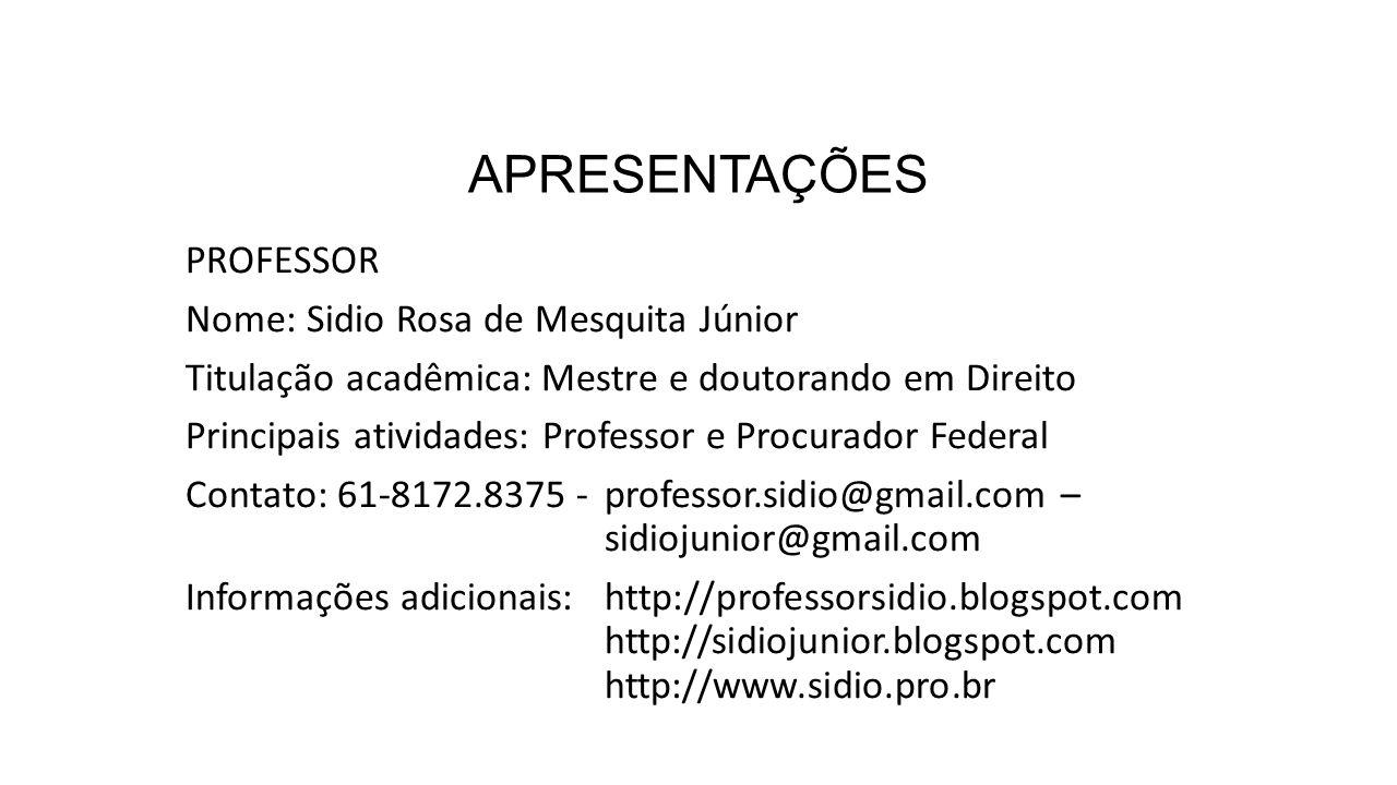 APRESENTAÇÕES PROFESSOR Nome: Sidio Rosa de Mesquita Júnior
