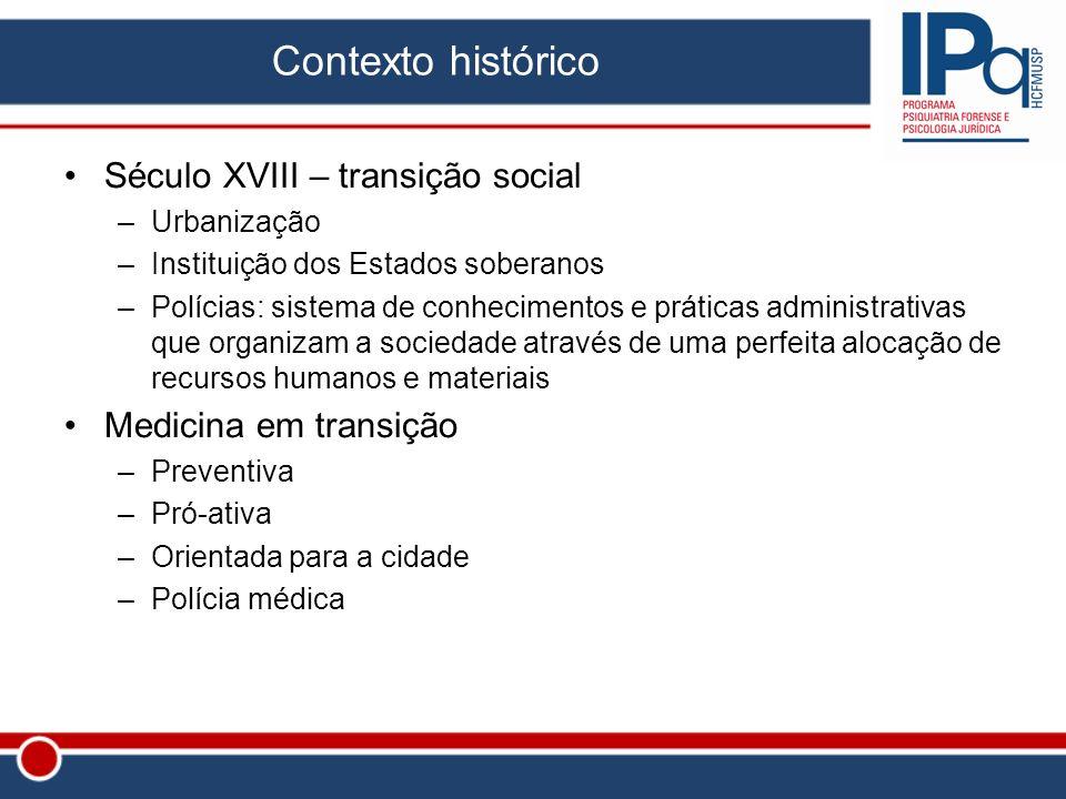 Contexto histórico Século XVIII – transição social