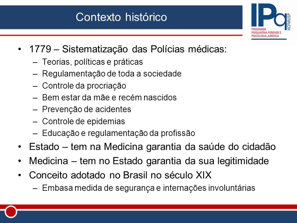 Contexto histórico 1779 – Sistematização das Polícias médicas:
