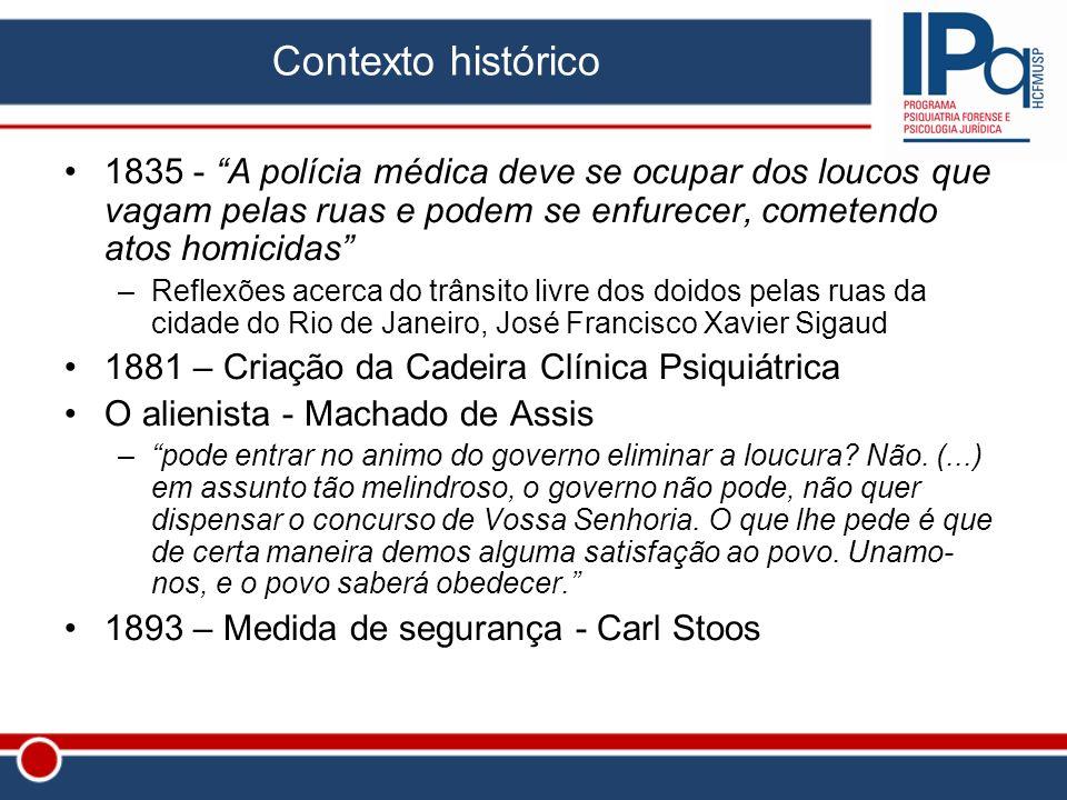 Contexto histórico 1835 - A polícia médica deve se ocupar dos loucos que vagam pelas ruas e podem se enfurecer, cometendo atos homicidas