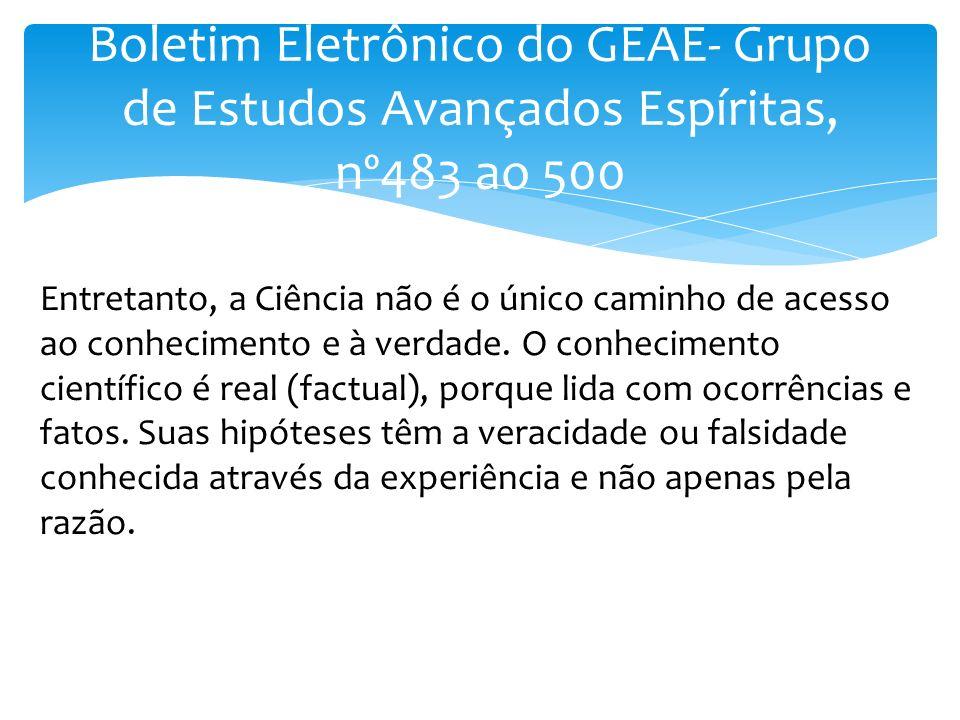 Boletim Eletrônico do GEAE- Grupo de Estudos Avançados Espíritas, nº483 ao 500