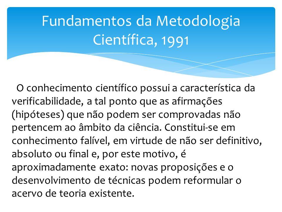 Fundamentos da Metodologia Científica, 1991