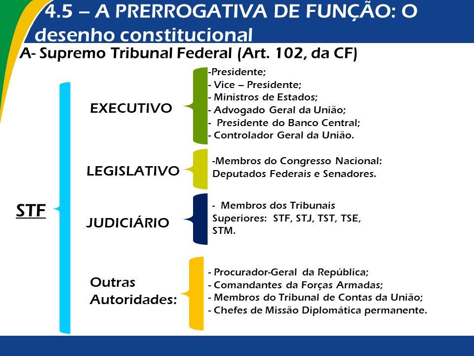 4.5 – A PRERROGATIVA DE FUNÇÃO: O desenho constitucional