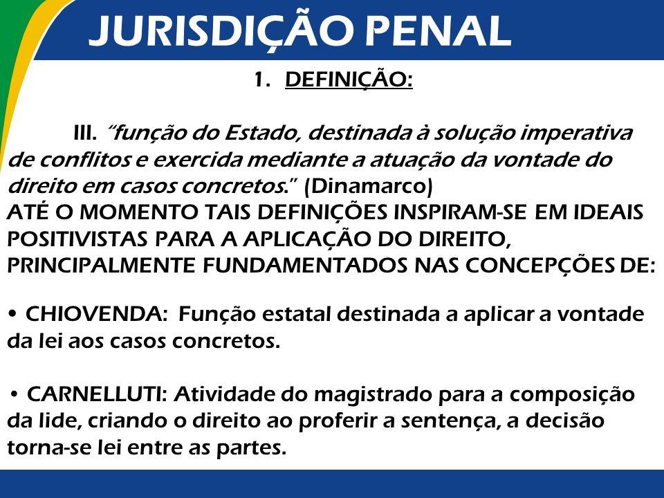 JURISDIÇÃO PENAL DEFINIÇÃO: