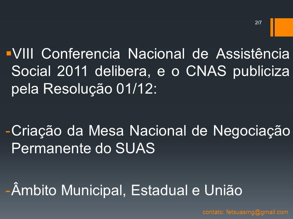 Criação da Mesa Nacional de Negociação Permanente do SUAS