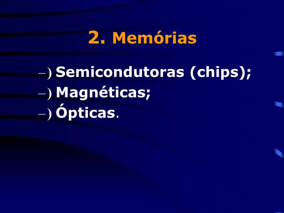 2. Memórias ) Semicondutoras (chips); ) Magnéticas; ) Ópticas.