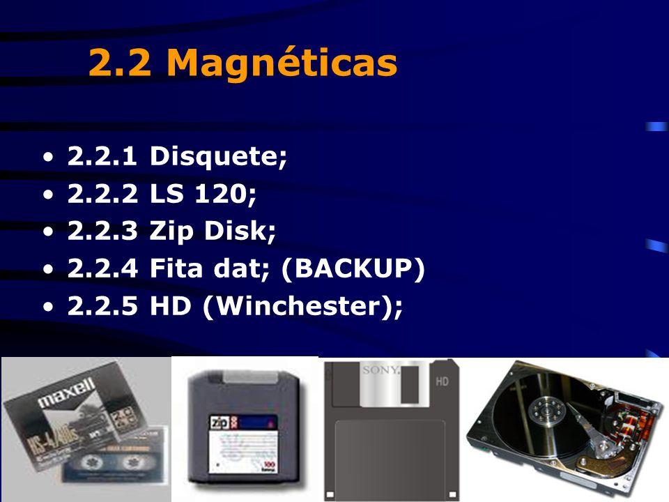 2.2 Magnéticas 2.2.1 Disquete; 2.2.2 LS 120; 2.2.3 Zip Disk;