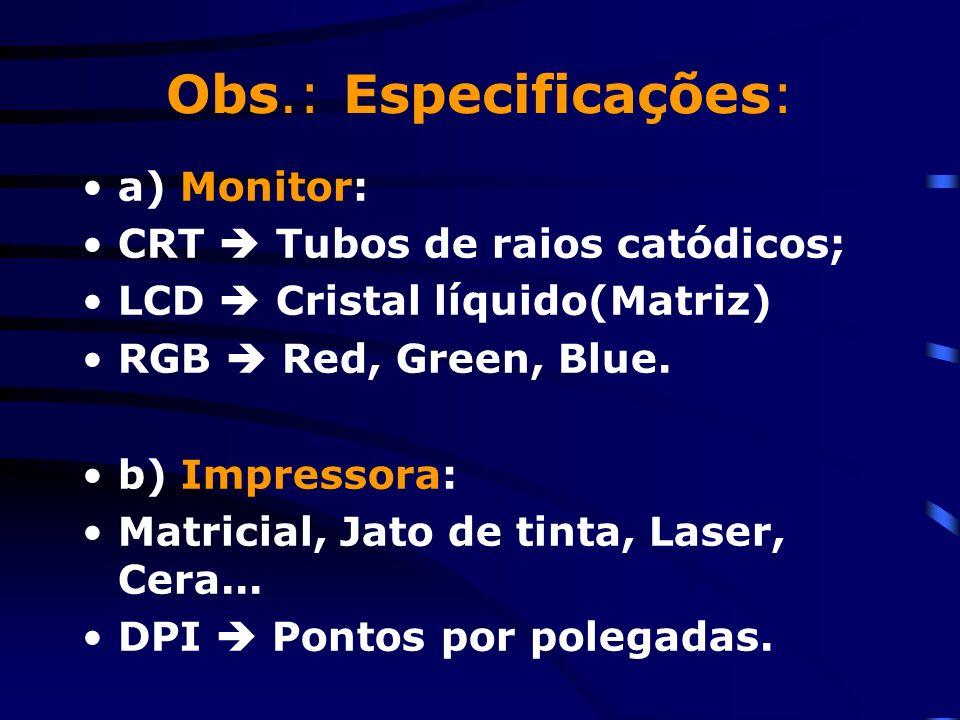 Obs.: Especificações: a) Monitor: CRT  Tubos de raios catódicos;