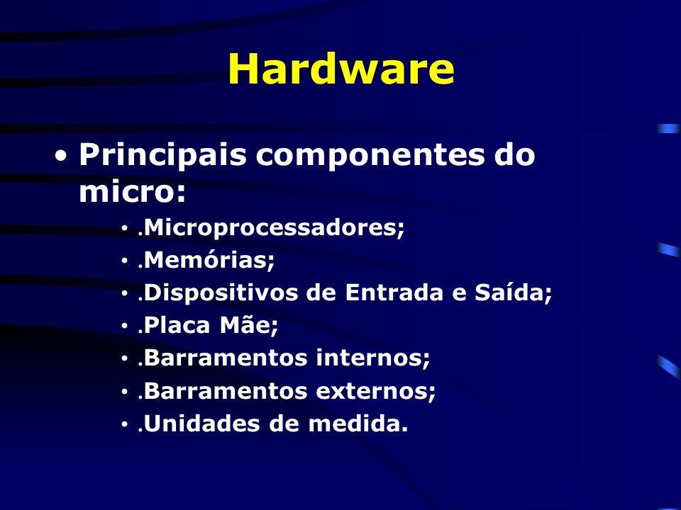 Hardware Principais componentes do micro: .Microprocessadores;