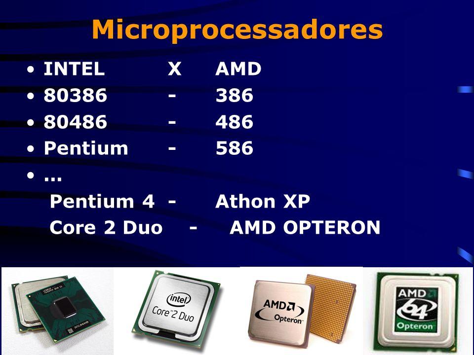 Microprocessadores INTEL X AMD 80386 - 386 80486 - 486 Pentium - 586