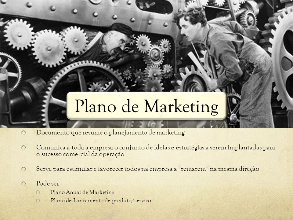 Plano de Marketing Documento que resume o planejamento de marketing