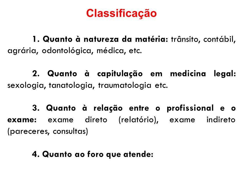 Classificação 1. Quanto à natureza da matéria: trânsito, contábil, agrária, odontológica, médica, etc.