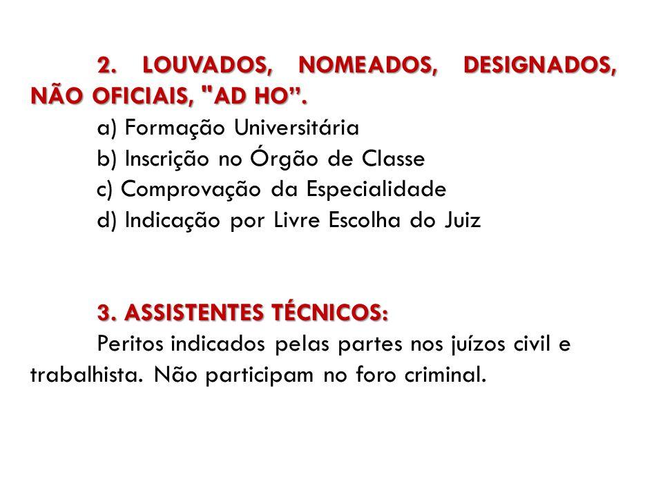 2. LOUVADOS, NOMEADOS, DESIGNADOS, NÃO OFICIAIS, AD HO .