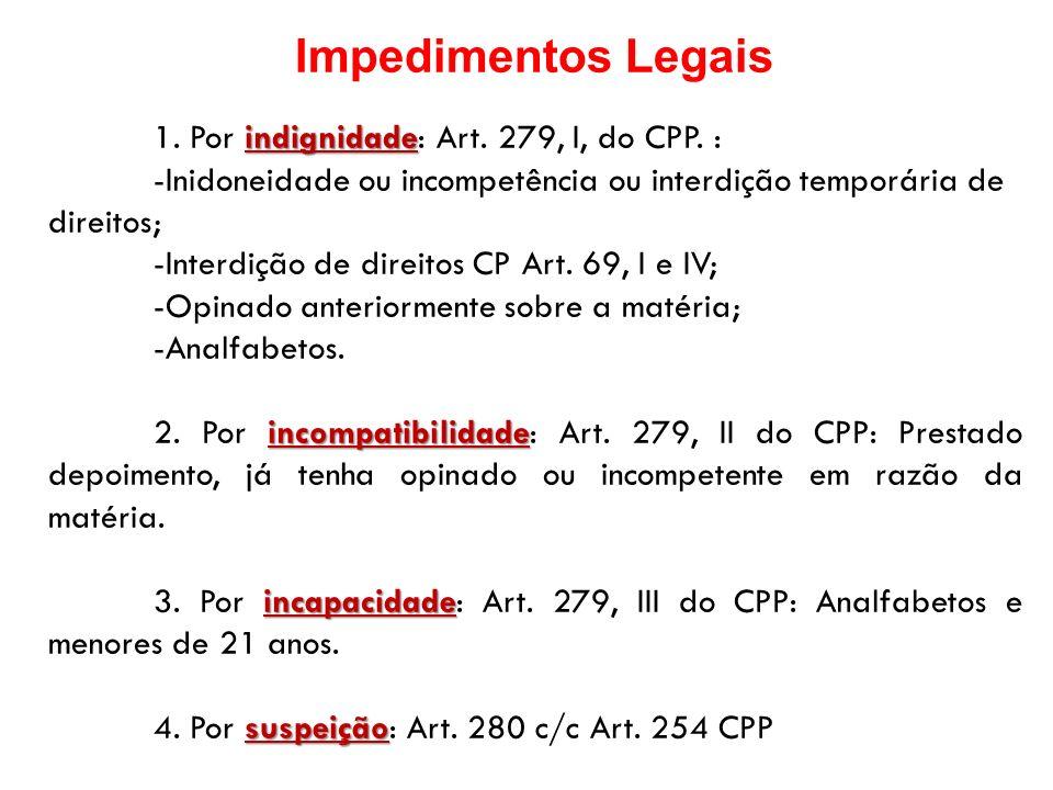 Impedimentos Legais 1. Por indignidade: Art. 279, I, do CPP. : -Inidoneidade ou incompetência ou interdição temporária de direitos;