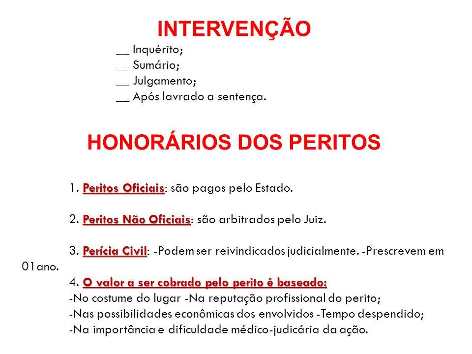 HONORÁRIOS DOS PERITOS