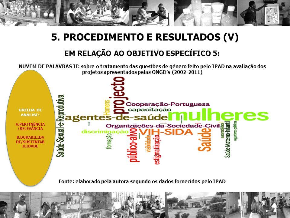 5. PROCEDIMENTO E RESULTADOS (V)