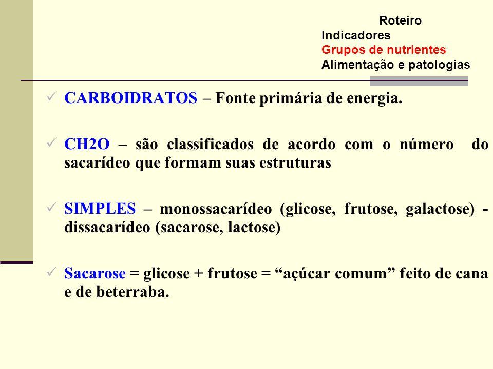 CARBOIDRATOS – Fonte primária de energia.