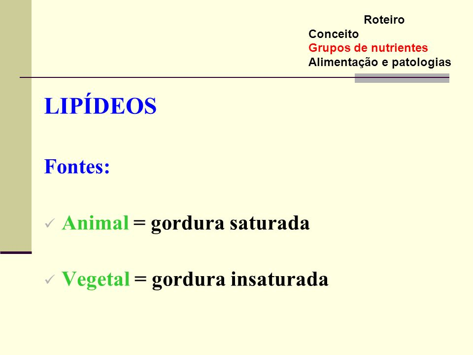 LIPÍDEOS Fontes: Animal = gordura saturada