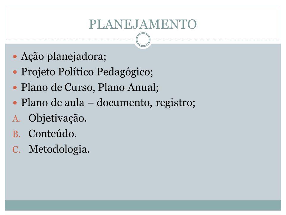 PLANEJAMENTO Ação planejadora; Projeto Político Pedagógico;