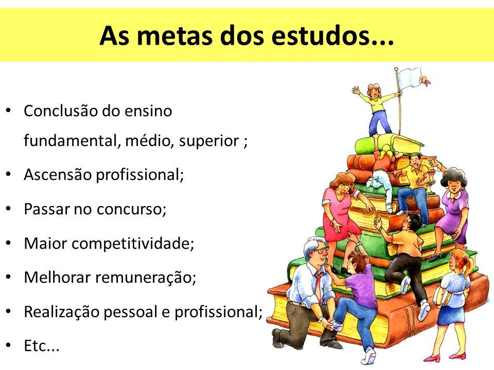 As metas dos estudos... Conclusão do ensino fundamental, médio, superior ; Ascensão profissional; Passar no concurso;