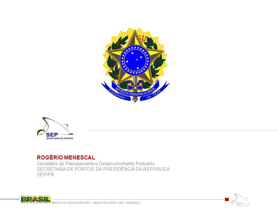 ROGÉRIO MENESCAL Secretário de Planejamento e Desenvolvimento Portuário. SECRETARIA DE PORTOS DA PRESIDÊNCIA DA REPÚBLICA.