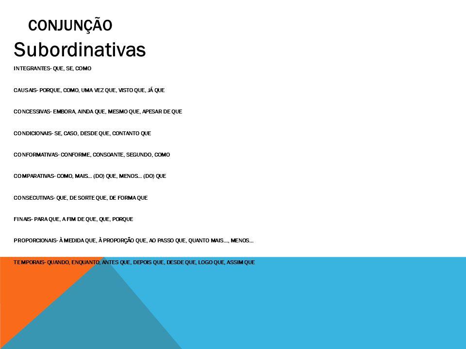 Subordinativas CONJUNÇÃO INTEGRANTES- QUE, SE, COMO