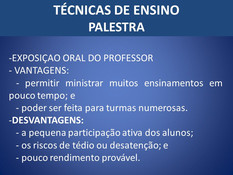 TÉCNICAS DE ENSINO PALESTRA