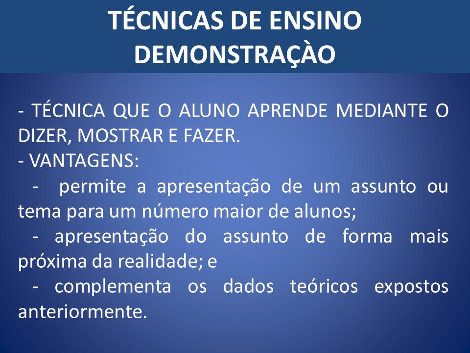 TÉCNICAS DE ENSINO DEMONSTRAÇÀO