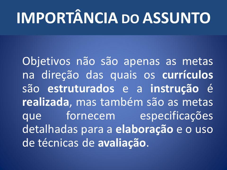 IMPORTÂNCIA DO ASSUNTO