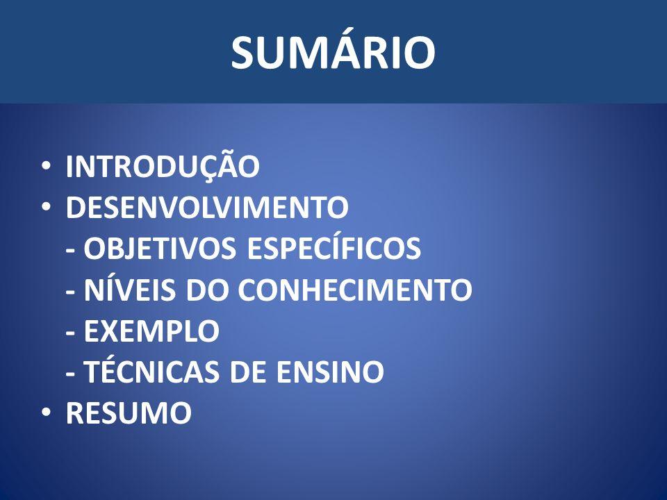 SUMÁRIO INTRODUÇÃO DESENVOLVIMENTO - OBJETIVOS ESPECÍFICOS