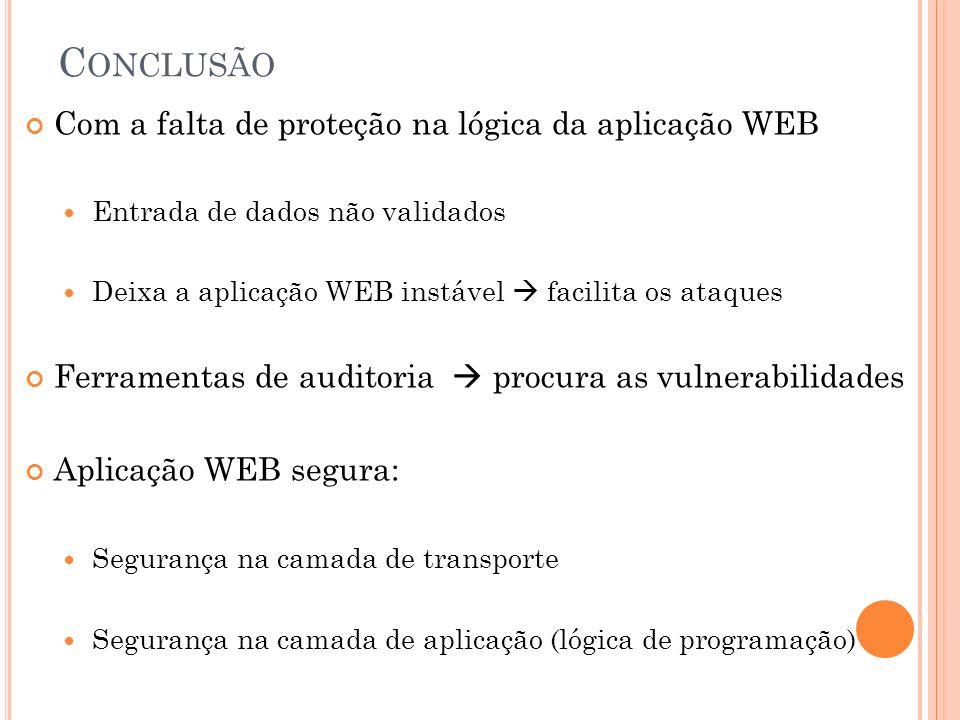 Conclusão Com a falta de proteção na lógica da aplicação WEB