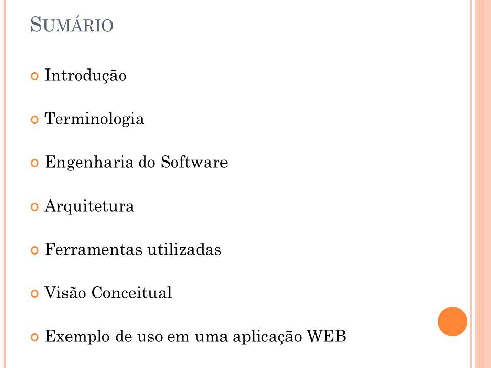 Sumário Introdução Terminologia Engenharia do Software Arquitetura