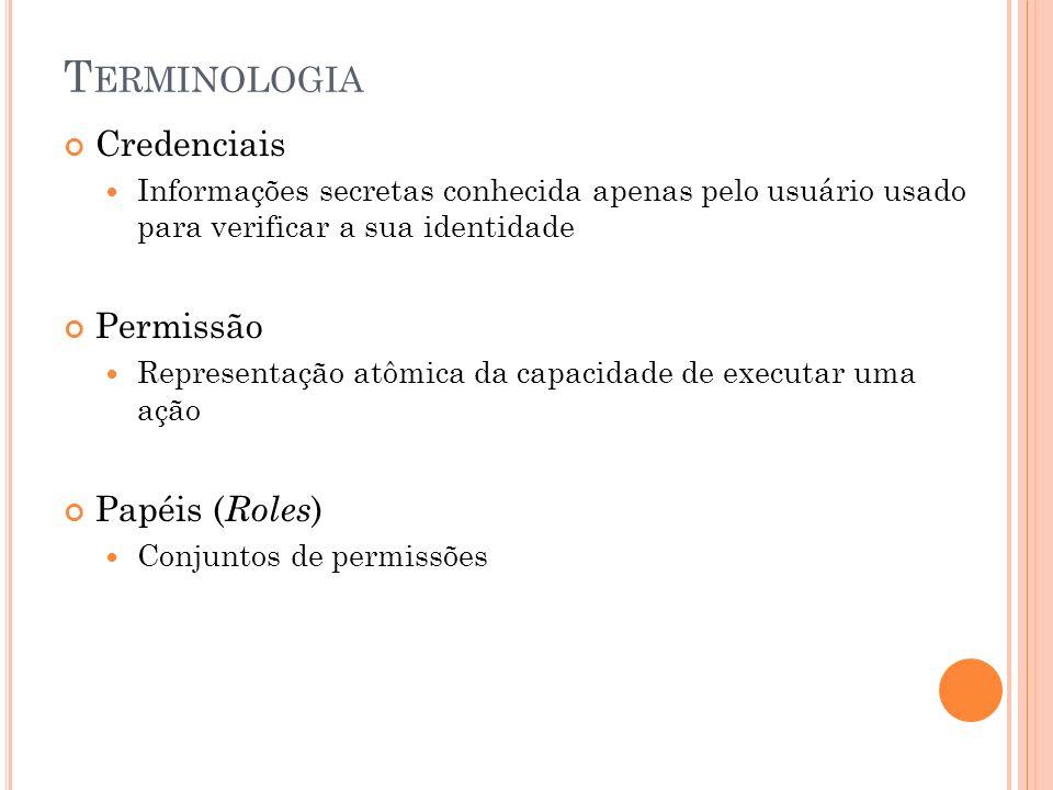 Terminologia Credenciais Permissão Papéis (Roles)