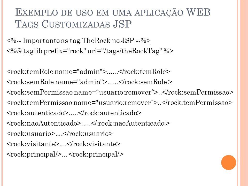 Exemplo de uso em uma aplicação WEB Tags Customizadas JSP